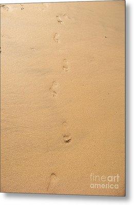 Footprints In The Sand Metal Print by Pixel  Chimp