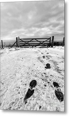 Footprints In The Snow Metal Print by John Farnan