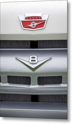 Ford Grille V8 Custom Cab Emblem  Metal Print by Jill Reger