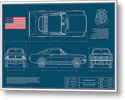 Ford Mustang Gt Fastback Blueplanprint Metal Print by Douglas Switzer