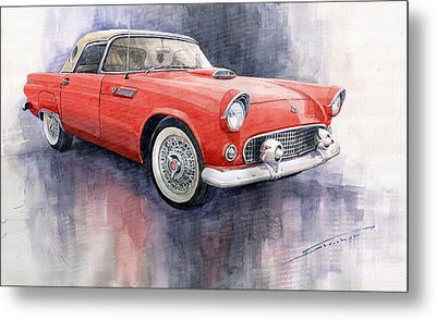 Ford Thunderbird 1955 Red Metal Print by Yuriy  Shevchuk