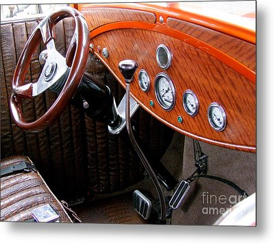 Ford V8 Dashboard Metal Print by Mary Deal