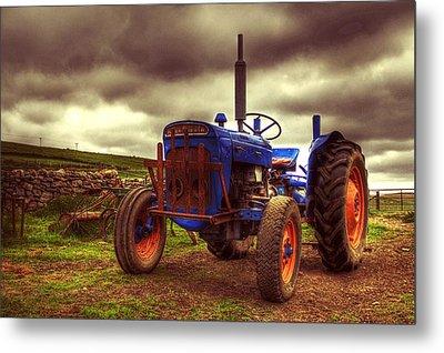 Fordson Super Dexta Tractor On Shetland Croft Metal Print by Anne Macdonald