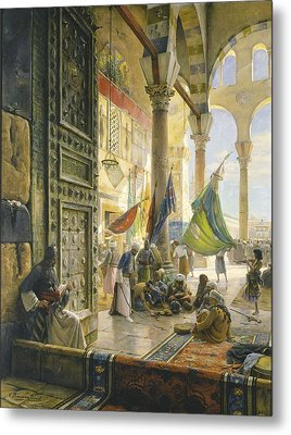 Forecourt Of The Ummayad Mosque, Damascus, 1890 Oil On Panel Metal Print by Gustave Bauernfeind