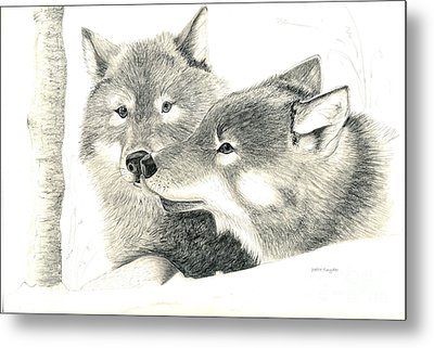 Forever Wolf Love-the Greeting Metal Print by Joette Snyder