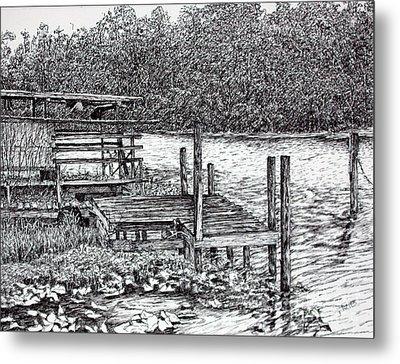 Forgotten Dock Metal Print by Janet Felts