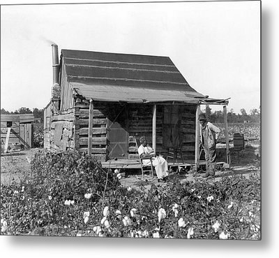 Former Slaves At Their Cabin Metal Print by Underwood Archives