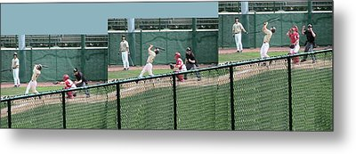 Foul Ball 3 Panel Composite Metal Print by Thomas Woolworth