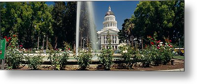 Fountain In A Garden In Front Metal Print by Panoramic Images