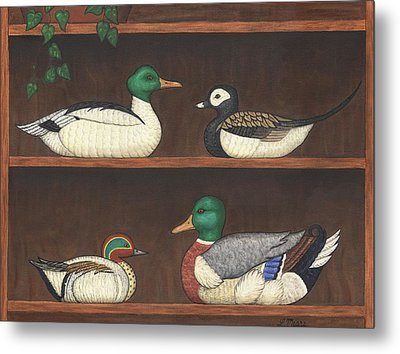 Four Duck Decoys Metal Print by Linda Mears