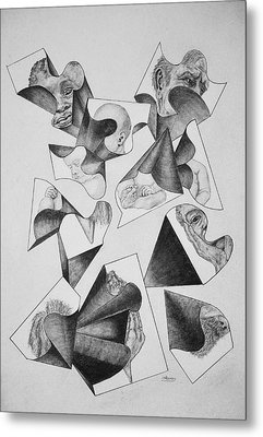 Four Faces In Puzzel Metal Print by Glenn Calloway