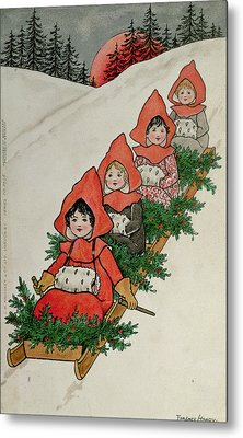 Four Little Girls On A Sledge  Metal Print by Florence Hardy