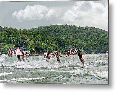 Fourth Of July Water Skiers Metal Print by Susan Leggett