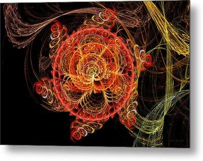 Fractal - Abstract - Mardi Gras Molecule Metal Print by Mike Savad