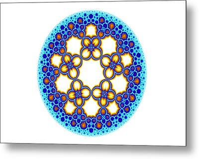 Fractal Escher Winter Mandala 3 Metal Print by Hakon Soreide