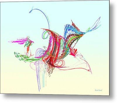 Fractal - Flying Bird Metal Print by Susan Savad