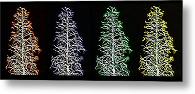 Fractal Seasons - Inverted Tetraptych Metal Print by Steve Ohlsen