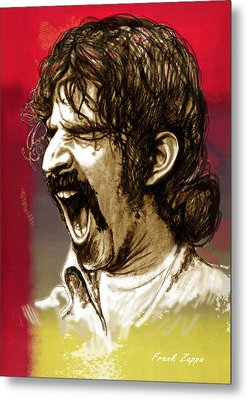 Frank Zappa Stylised Pop Art Drawing Potrait Poser Metal Print by Kim Wang
