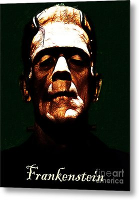 Frankenstein - Dark - With Text Metal Print by Wingsdomain Art and Photography