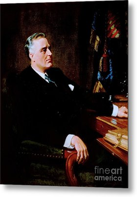 Franklin Delano Roosevelt Metal Print by Pg Reproductions