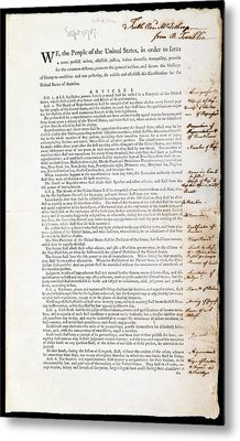 Franklin's Copy Of The Us Constitution Metal Print by American Philosophical Society