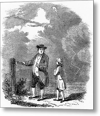 Franklin's Lightning Experiment Metal Print by Universal History Archive/uig