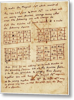 Franklin's Magic Squares Metal Print by American Philosophical Society