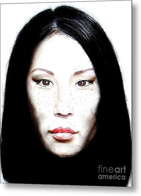 Freckle Faced Beauty Lucy Liu  II Metal Print by Jim Fitzpatrick