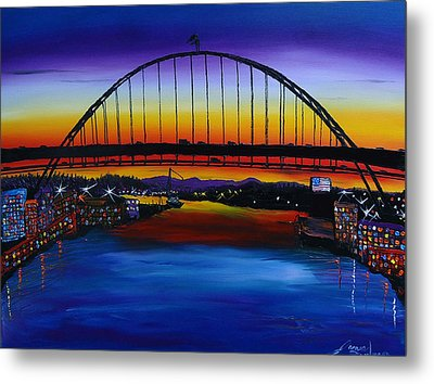 Fremont Bridge At Dusk 5 Metal Print by Portland Art Creations