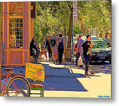 French Bread On Laurier Street Montreal Cafe Scene Sunny Corner With Vente De Garage Sign Metal Print by Carole Spandau