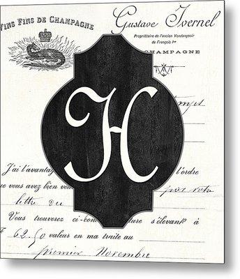French Champagne Monogram Metal Print by Debbie DeWitt