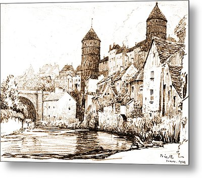 French Fortified Town 1922 Metal Print by Padre Art