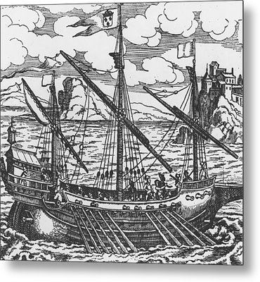 French Galley Operating In The Ports Of The Levant Since Louis Xi  Metal Print by French School