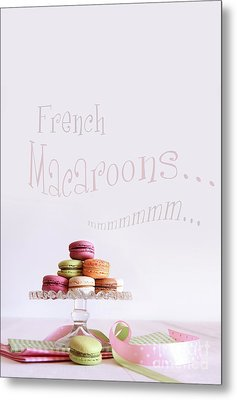 French Macaroons On Dessert Tray Metal Print by Sandra Cunningham