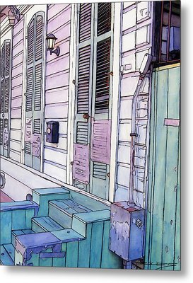 French Quarter Stoop 213 Metal Print by John Boles