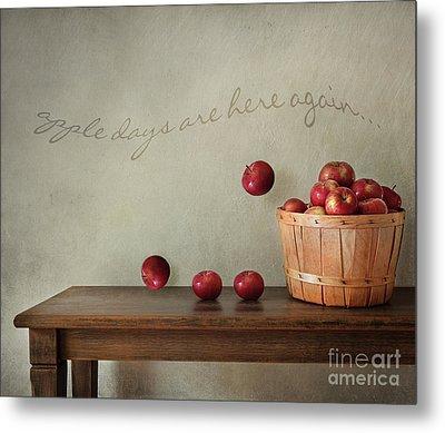 Fresh Apples On Wooden Table Metal Print by Sandra Cunningham