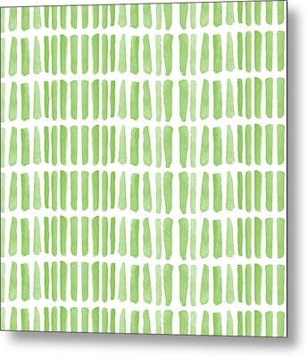 Fresh Grass- Abstract Pattern Painting Metal Print by Linda Woods