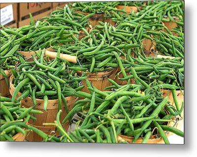 Fresh Green Beans In Baskets Metal Print by Teri Virbickis