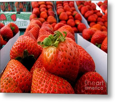Fresh Strawberries Metal Print by Peggy Hughes