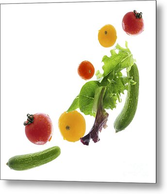 Fresh Vegetables Flying Metal Print by Elena Elisseeva