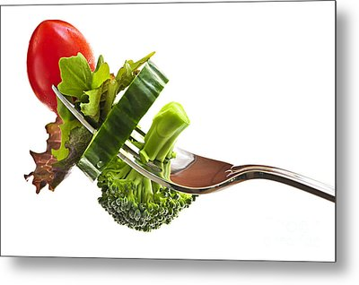Fresh Vegetables On A Fork Metal Print by Elena Elisseeva
