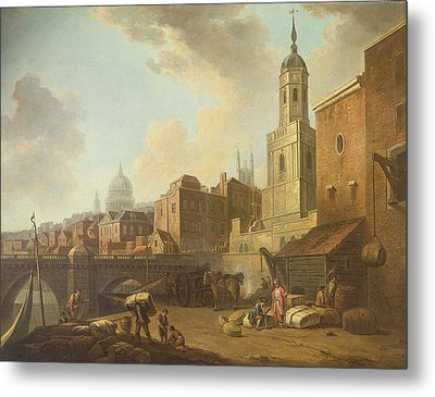 Fresh Wharf Near London Bridge, C.1762 Oil On Canvas Metal Print by William Marlow