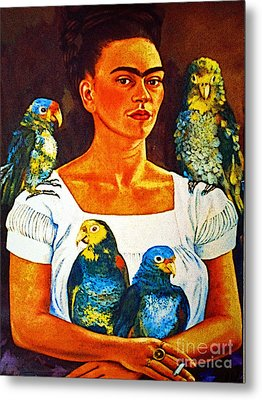 Frida In Tlaquepaque Metal Print by Mexicolors Art Photography