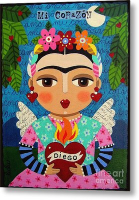 Frida Kahlo Angel And Flaming Heart Metal Print by LuLu Mypinkturtle