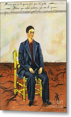 Frida Kahlo Self-portrait With Cropped Hair Autorretrato Con Pelo Cortado Metal Print by Pg Reproductions