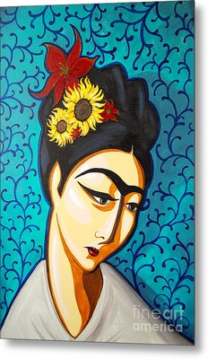 Frida Metal Print by Rebecca Mott