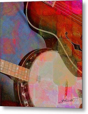 Friends Again Digital Banjo And Guitar Art By Steven Langston Metal Print by Steven Lebron Langston