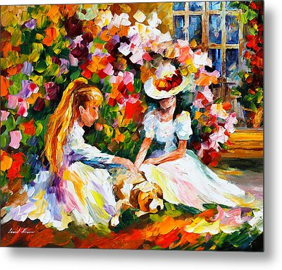 Friends With A Dog Metal Print by Leonid Afremov