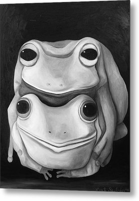 Frog Love-the Embrace Edit 2 Metal Print by Leah Saulnier The Painting Maniac