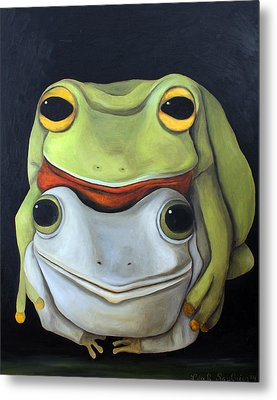 Frog Love-the Embrace Metal Print by Leah Saulnier The Painting Maniac